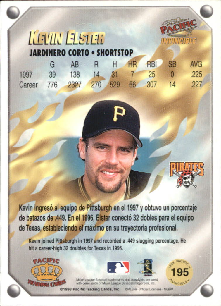1998 Pacific Invincible Gems of the Diamond #195 Kevin Elster back image