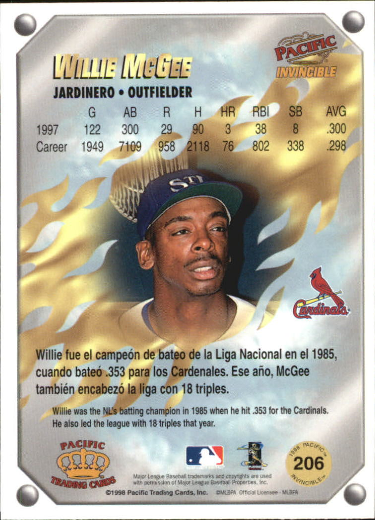 1998 Pacific Invincible Gems of the Diamond #206 Willie McGee back image