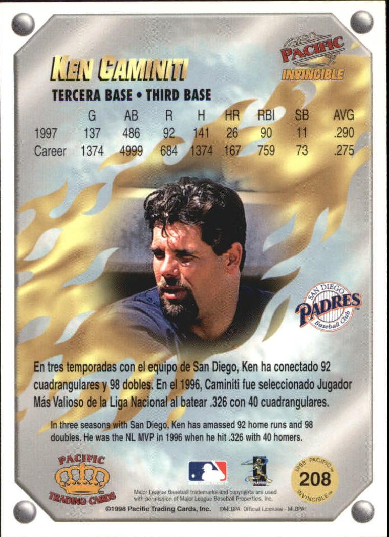 1998 Pacific Invincible Gems of the Diamond #208 Ken Caminiti back image