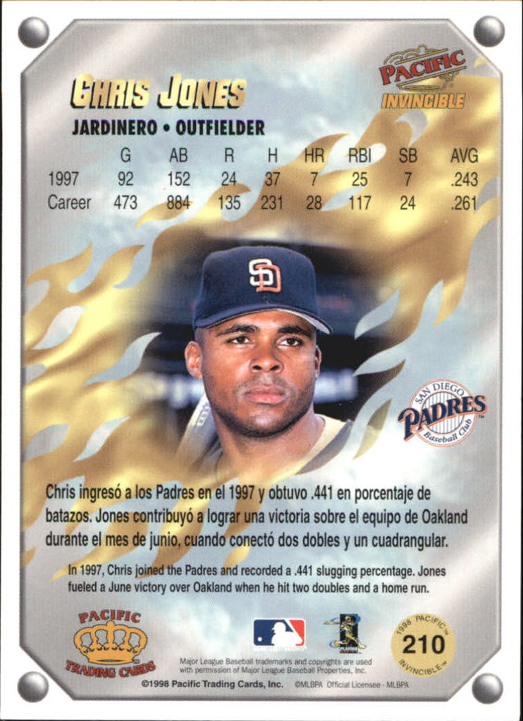1998 Pacific Invincible Gems of the Diamond #210 Chris Jones back image