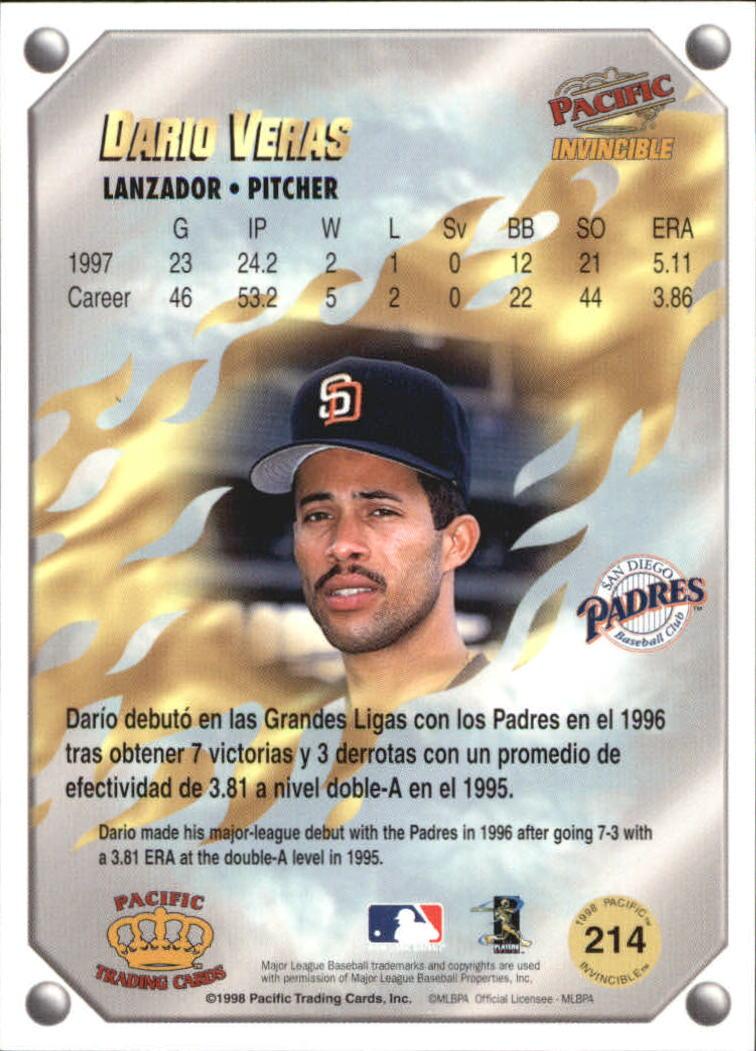 1998 Pacific Invincible Gems of the Diamond #214 Dario Veras back image