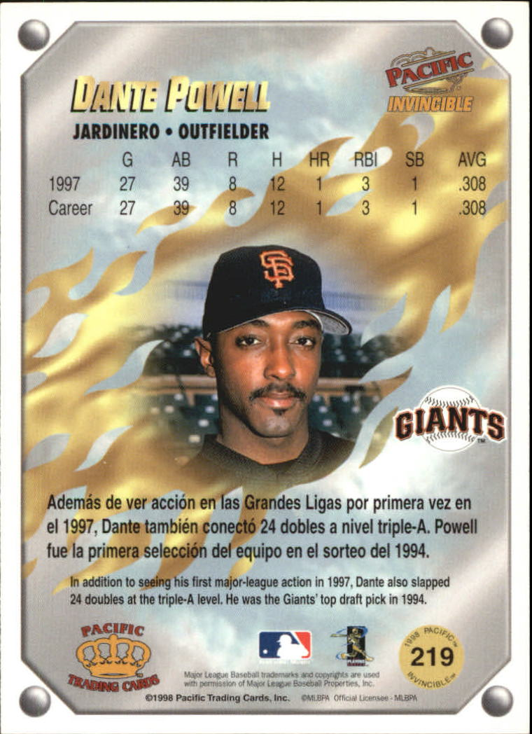 1998 Pacific Invincible Gems of the Diamond #219 Dante Powell back image