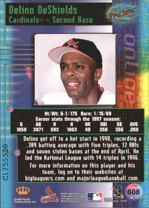 1998 Pacific Online Web Cards #608 Delino DeShields back image