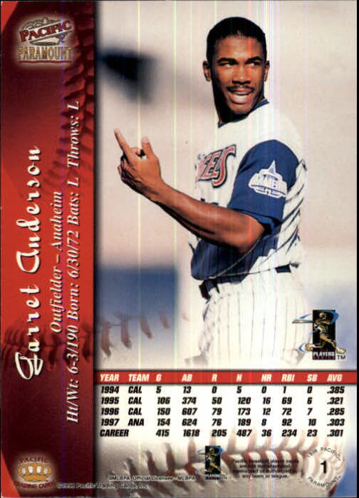 1998 Paramount Copper #1 Garret Anderson back image