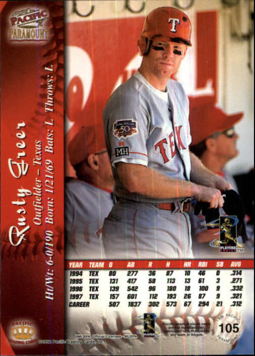1998 Paramount Copper #105 Rusty Greer back image