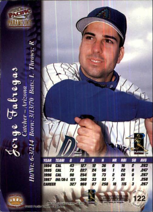 1998 Paramount Copper #122 Jorge Fabregas back image