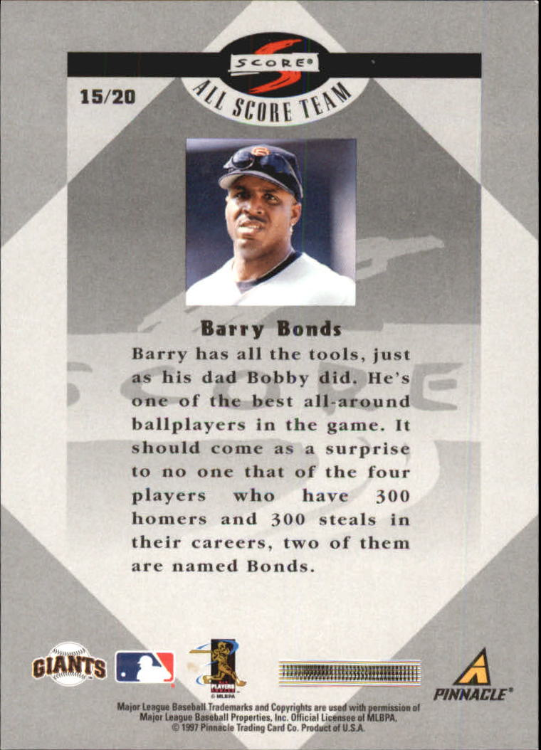1998 Score All Score Team #15 Barry Bonds back image