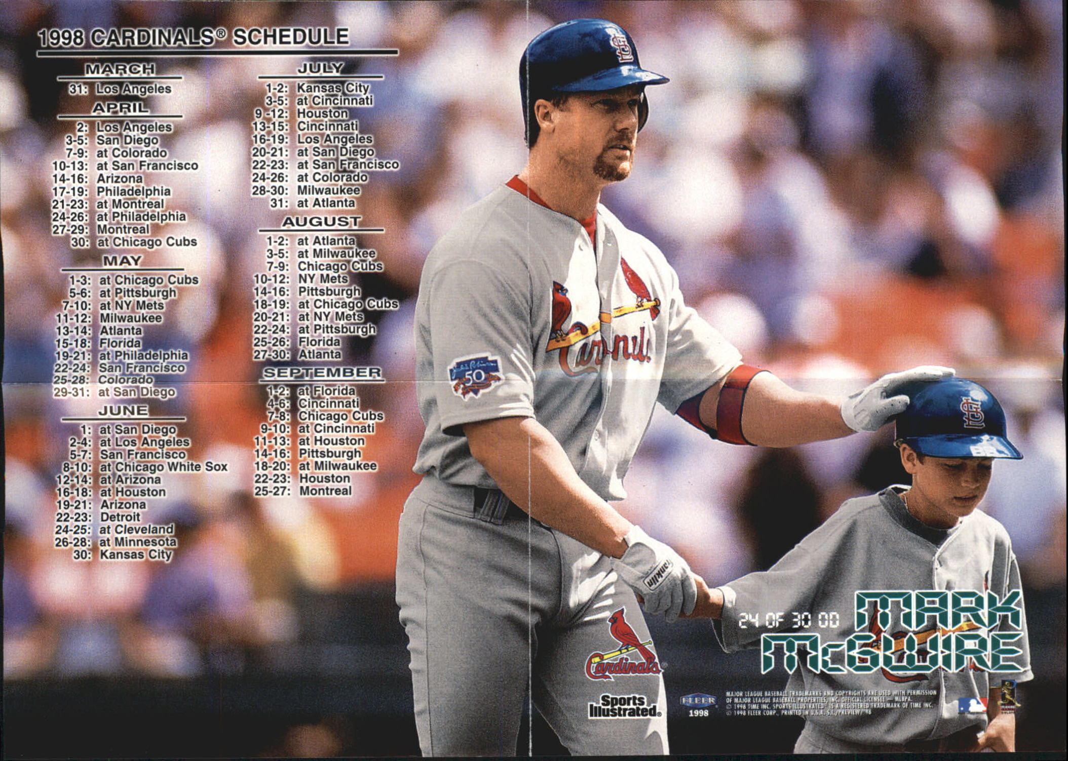 1998 Sports Illustrated Opening Day Mini Posters #OD24 Mark McGwire