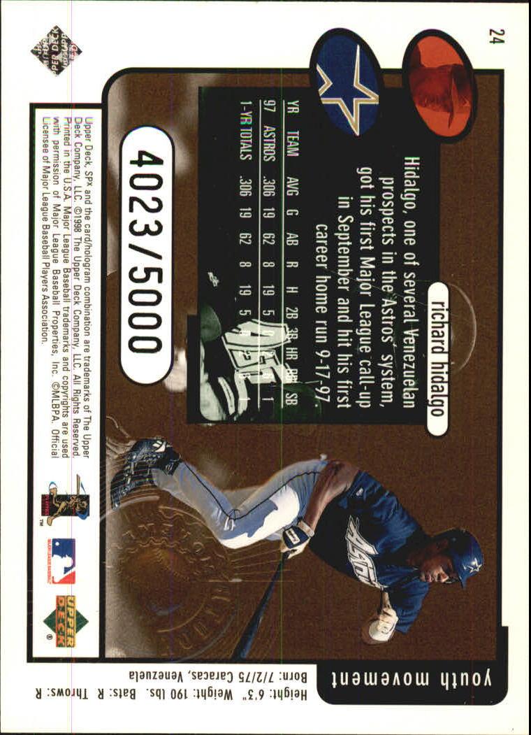 1998 SPx Finite #24 Richard Hidalgo YM back image