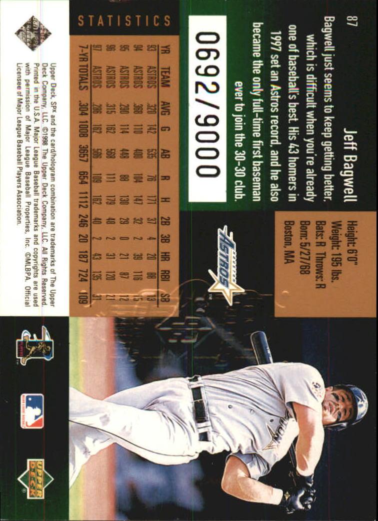 1998 SPx Finite #87 Jeff Bagwell back image