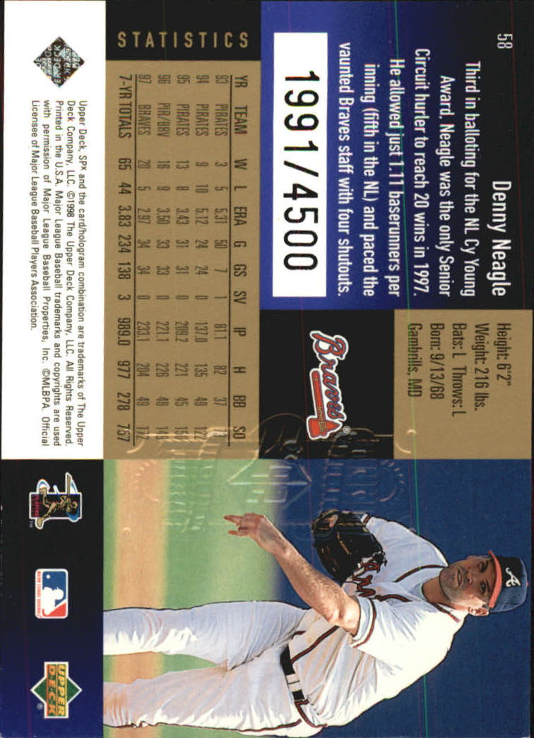 1998 SPx Finite Radiance #58 Denny Neagle back image