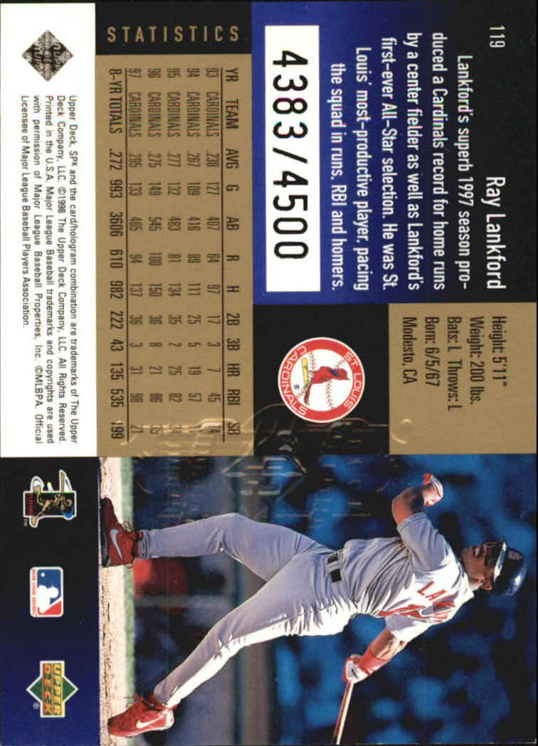 1998 SPx Finite Radiance #119 Ray Lankford back image