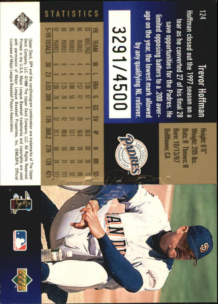 1998 SPx Finite Radiance #124 Trevor Hoffman back image