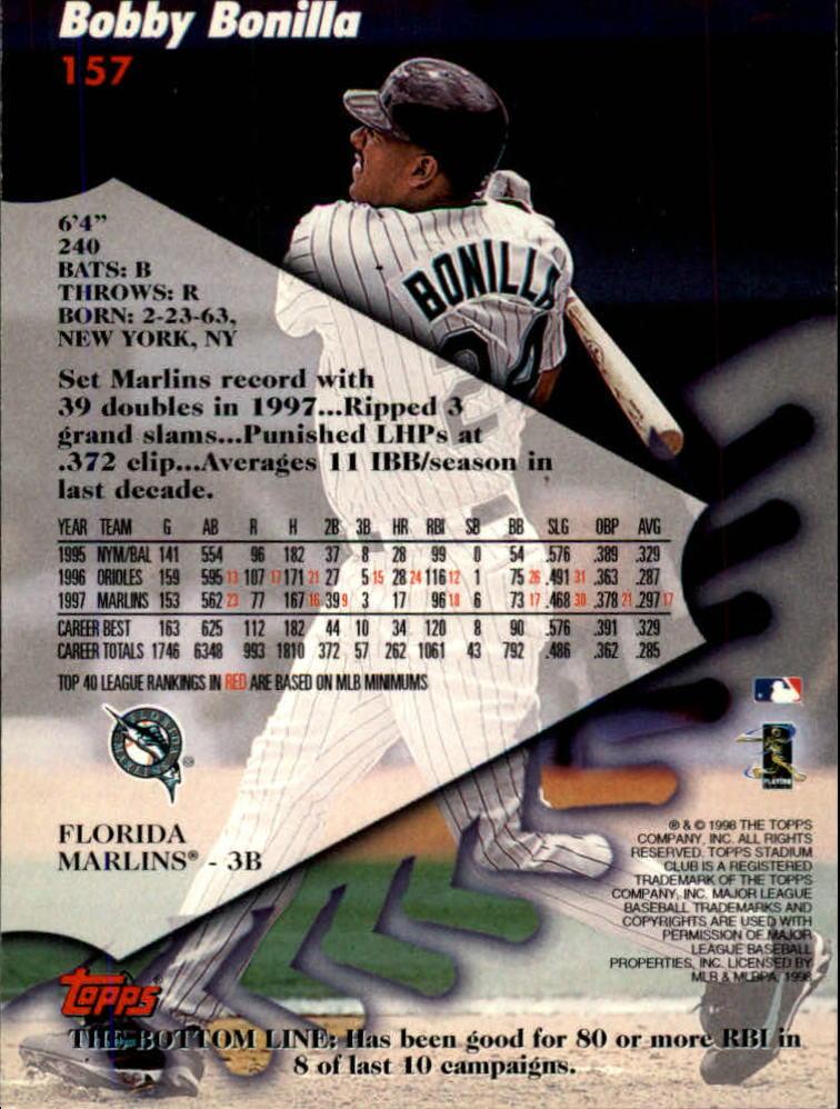 1998 Stadium Club #157 Bobby Bonilla back image