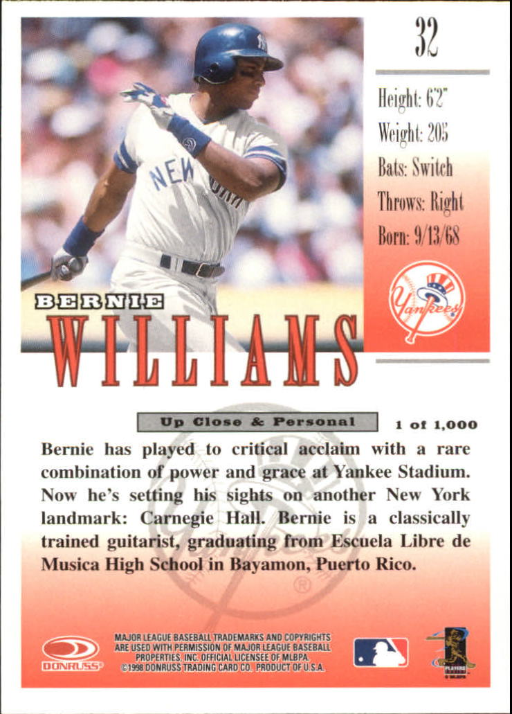 1998 Studio Silver Press Proofs #32 Bernie Williams back image