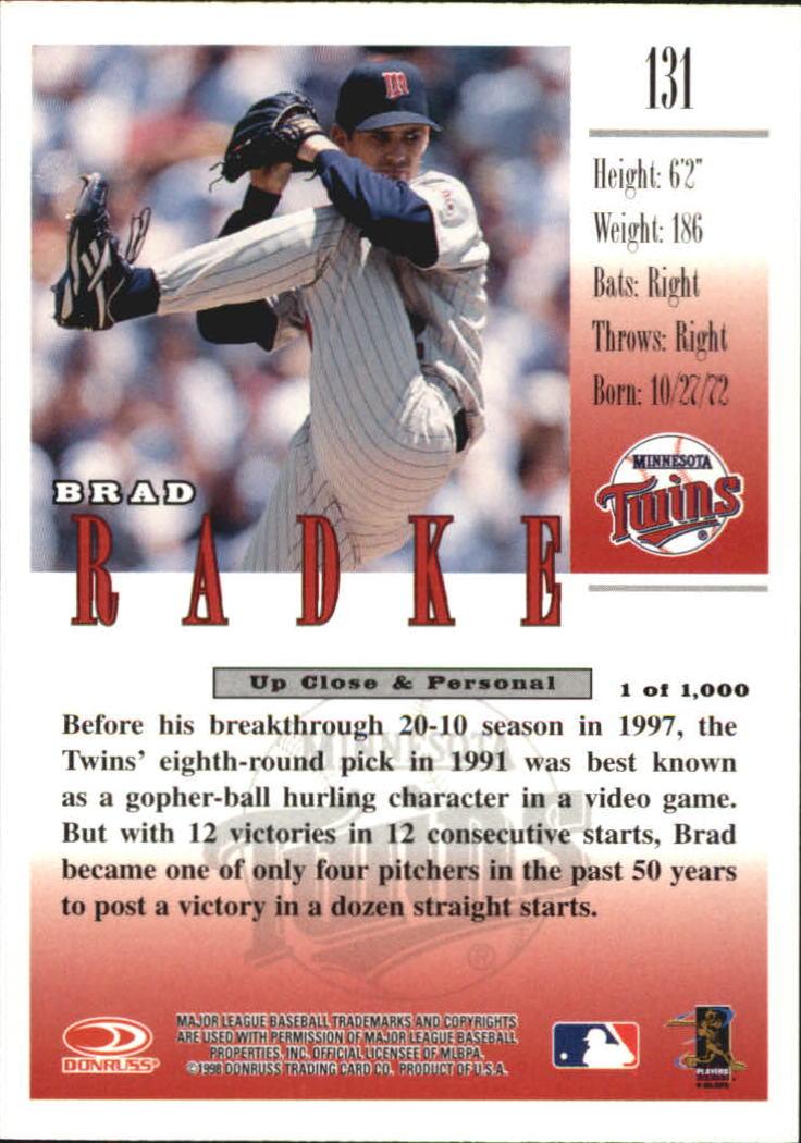 1998 Studio Silver Press Proofs #131 Brad Radke back image