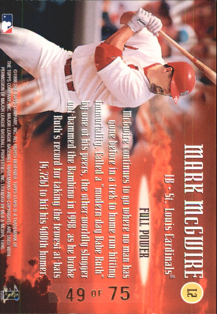 1998 Topps Stars Luminaries Silver #L2 Mark McGwire back image
