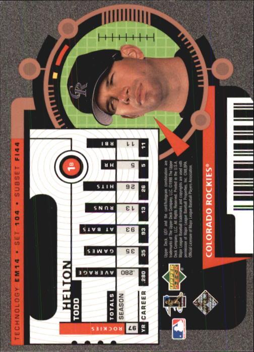 1998 UD3 #104 Todd Helton FE back image