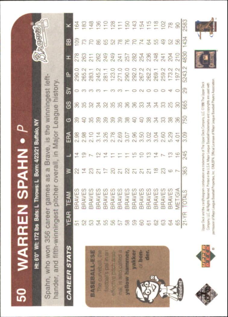 1998 Upper Deck Retro #50 Warren Spahn back image