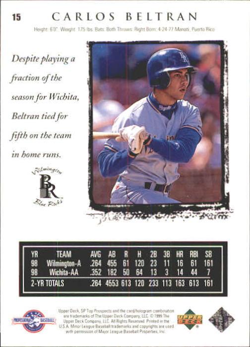 1999 SP Top Prospects #15 Carlos Beltran back image