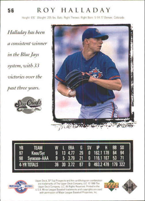1999 SP Top Prospects #56 Roy Halladay back image