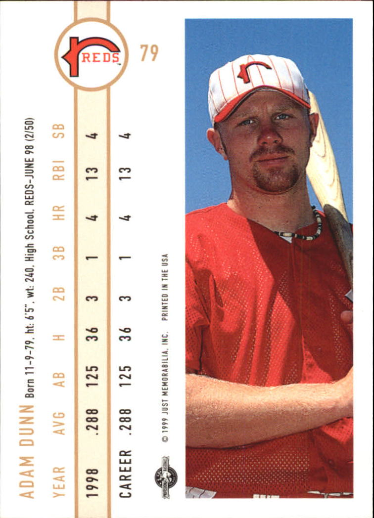 1999 Just #79 Adam Dunn back image