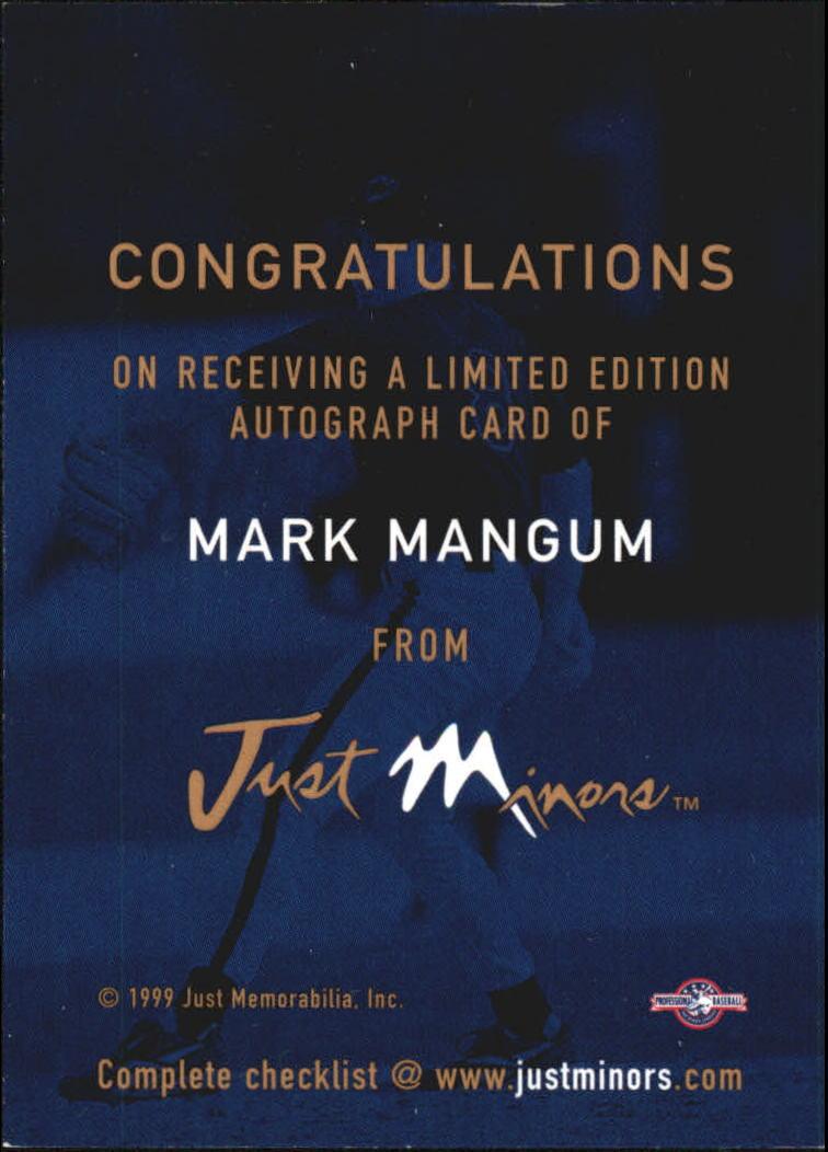 1999 Just Autographs #77 Mark Mangum IM back image