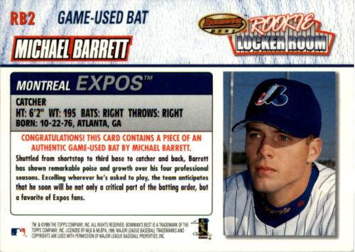 1999 Bowman's Best Rookie Locker Room Game Used Bats #RB2 Michael Barrett back image