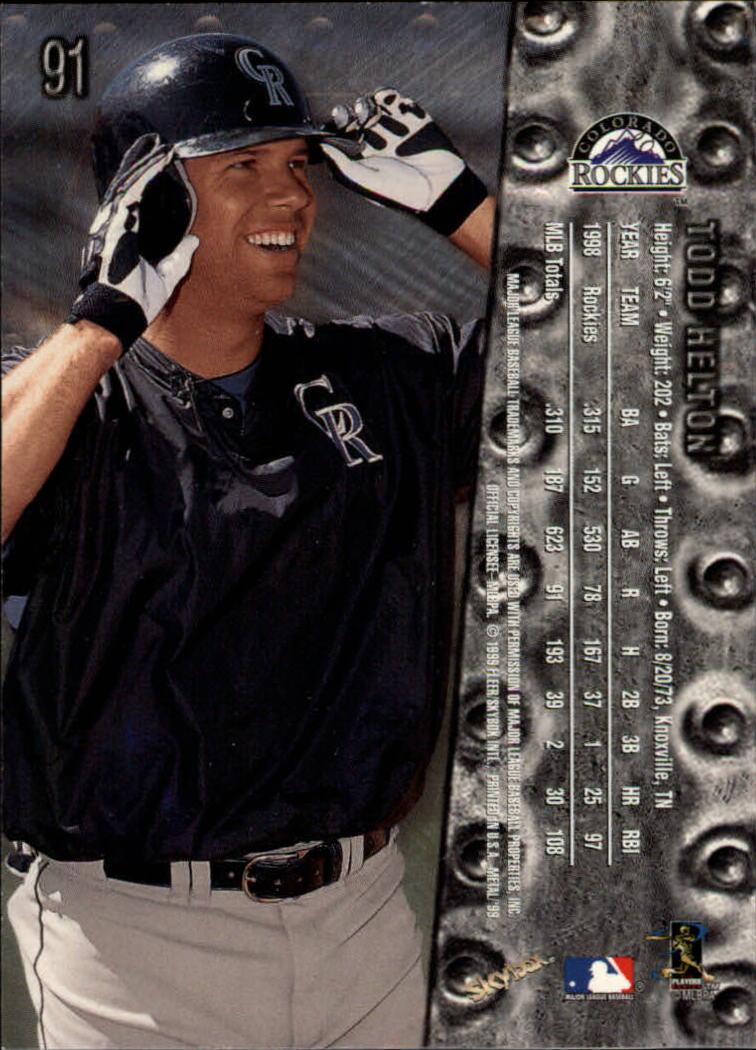 1999 Metal Universe #91 Todd Helton back image