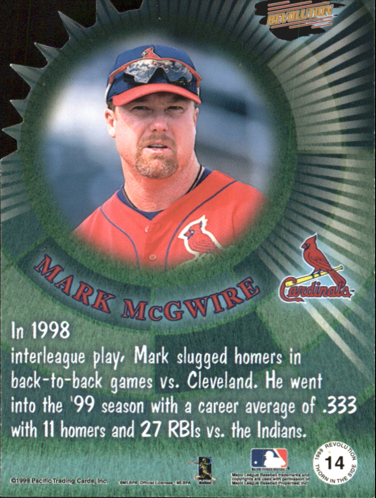 1999 Revolution Thorn in the Side #14 Mark McGwire back image