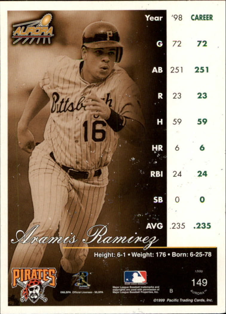 1999 Aurora #149 Aramis Ramirez back image