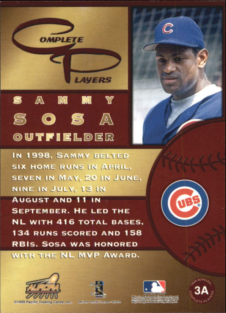 1999 Aurora Complete Players #3A Sammy Sosa back image