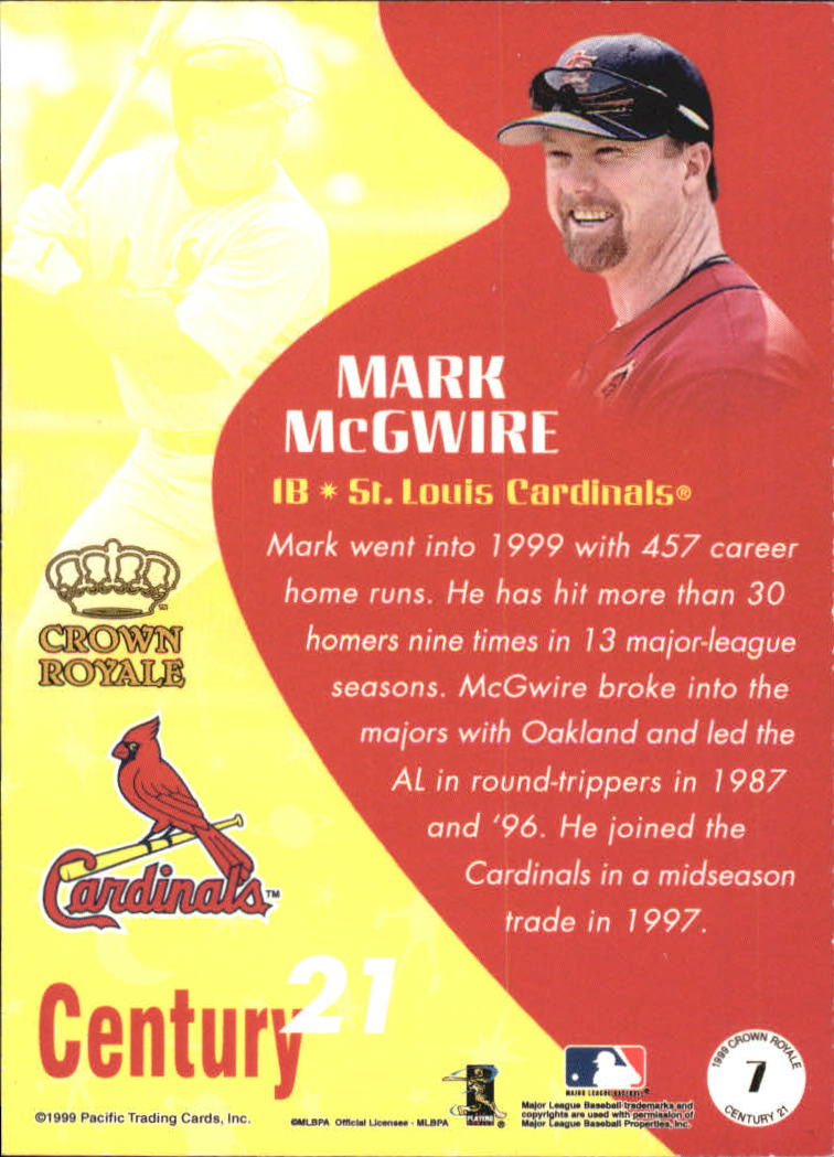 1999 Crown Royale Century 21 #7 Mark McGwire back image