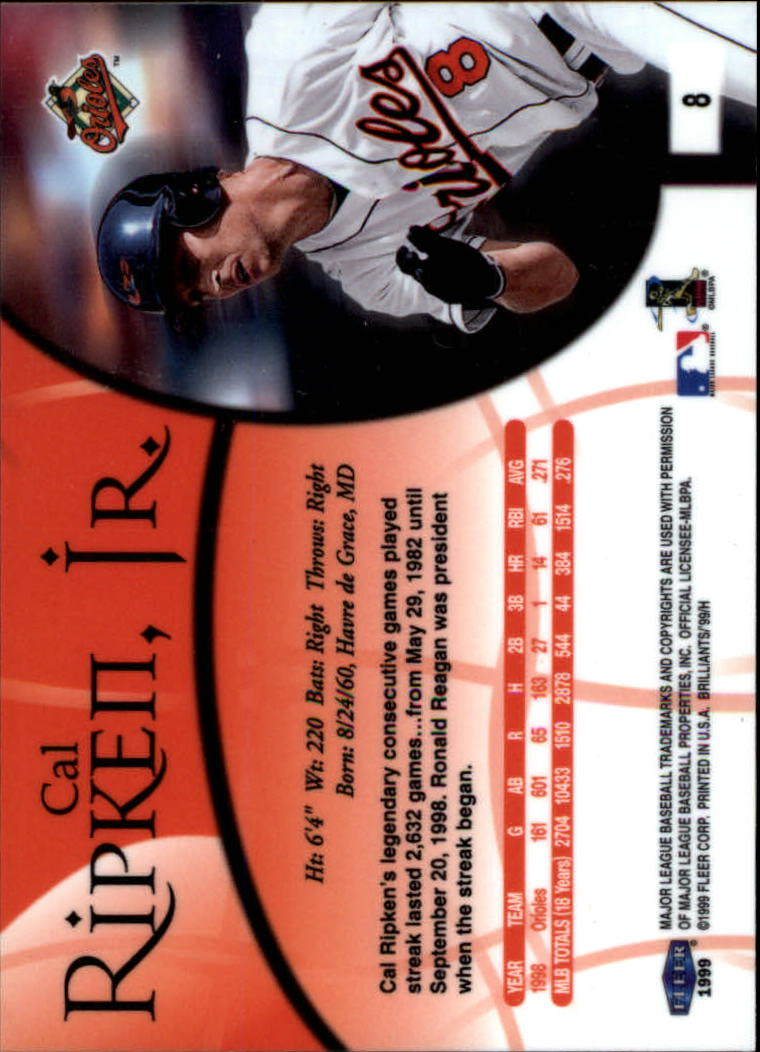 1999 Fleer Brilliants #8 Cal Ripken back image
