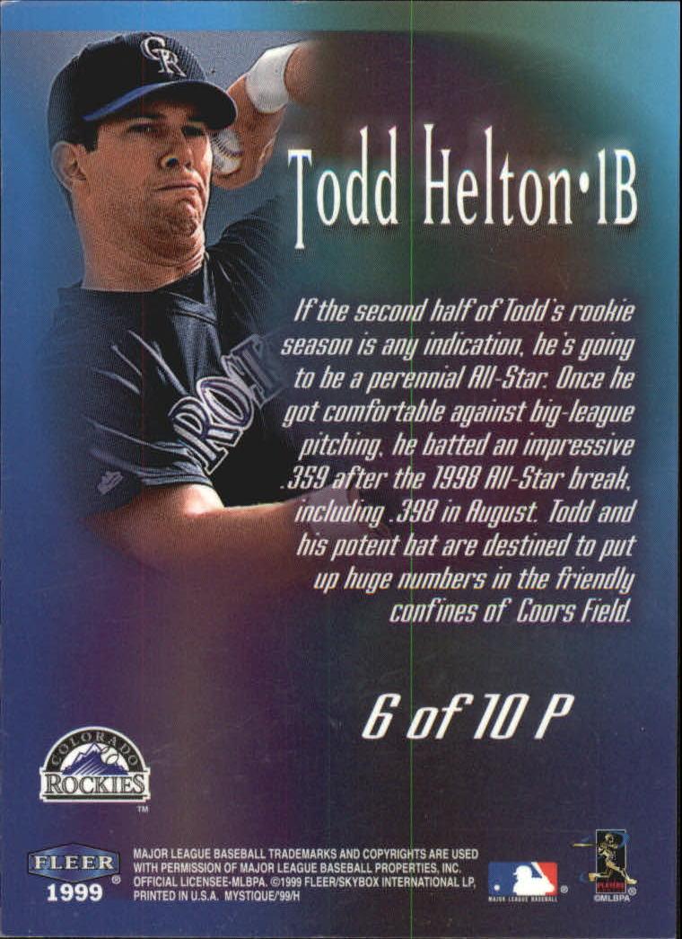 1999 Fleer Mystique Prophetic #6 Todd Helton back image