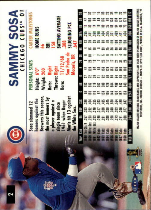 1999 Fleer Tradition #2 Sammy Sosa back image