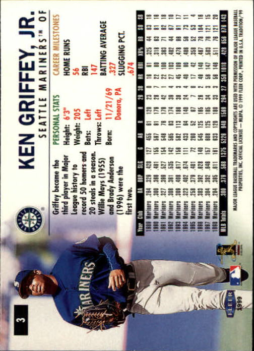 1999 Fleer Tradition #3 Ken Griffey Jr. back image