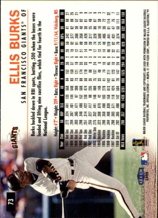 1999 Fleer Tradition #73 Ellis Burks back image