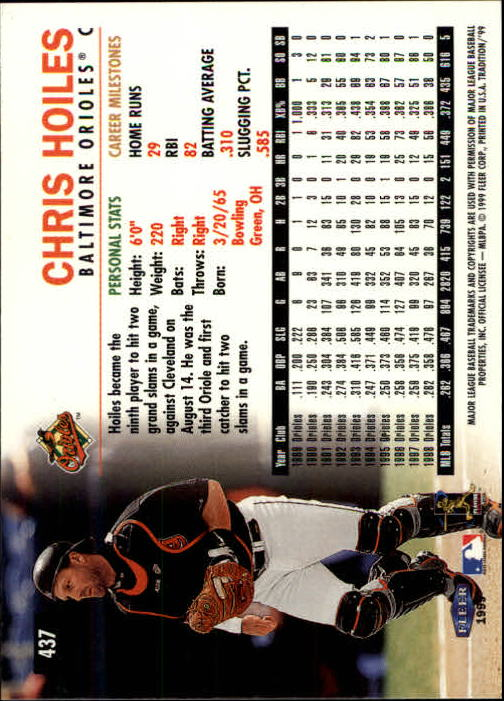 1999 Fleer Tradition #437 Chris Hoiles back image
