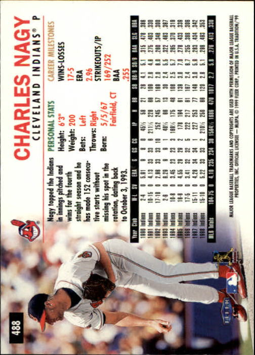 1999 Fleer Tradition #488 Charles Nagy back image