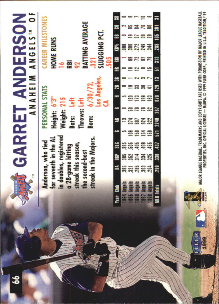 1999 Fleer Tradition Millenium #66 Garret Anderson back image