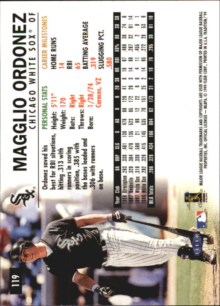 1999 Fleer Tradition Millenium #119 Magglio Ordonez back image