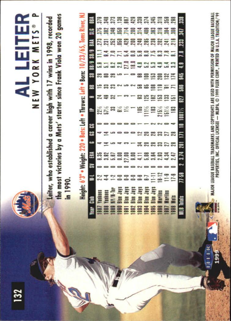 1999 Fleer Tradition Millenium #132 Al Leiter back image