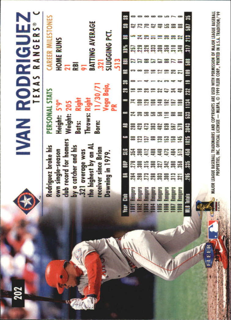 1999 Fleer Tradition Millenium #202 Ivan Rodriguez back image