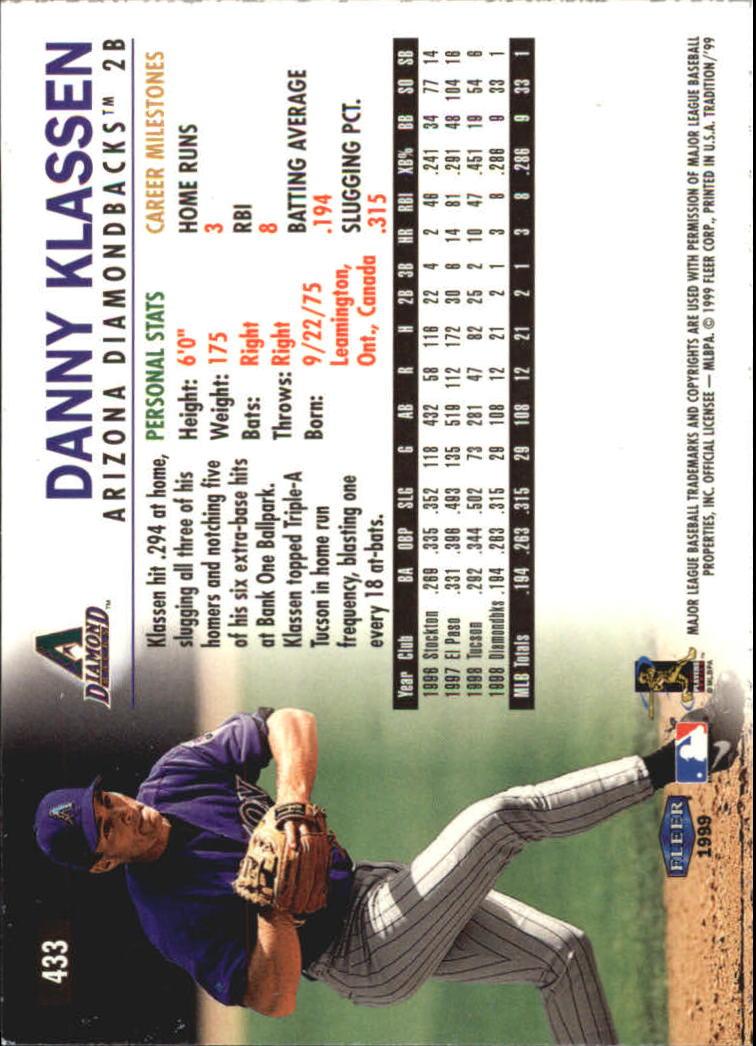 1999 Fleer Tradition Millenium #433 Danny Klassen back image