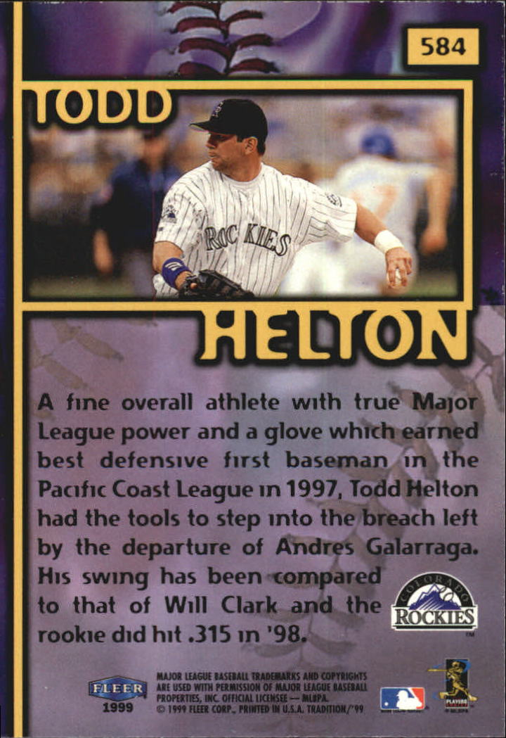 1999 Fleer Tradition Millenium #584 Todd Helton FF back image