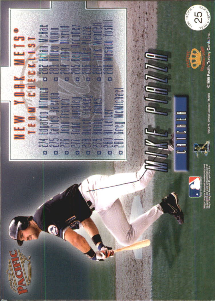 1999 Pacific Team Checklists #25 Mike Piazza back image