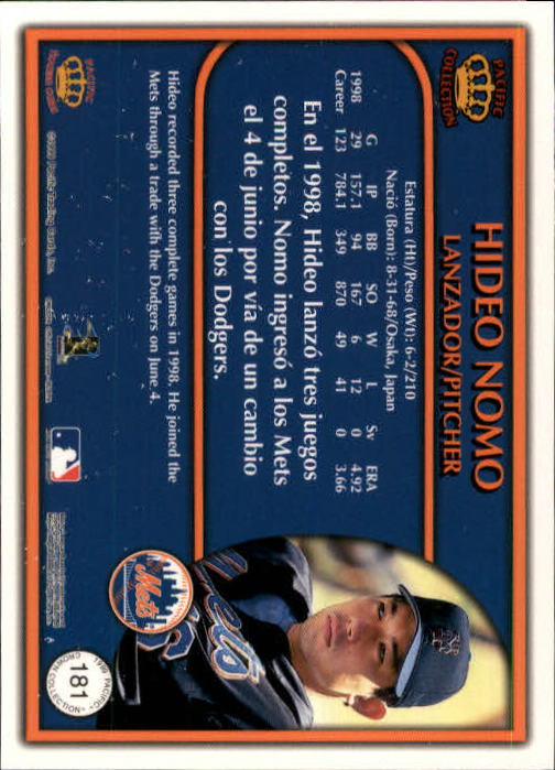 1999 Pacific Crown Collection #181 Hideo Nomo back image