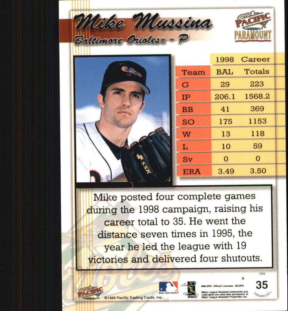 1999 Paramount #35 Mike Mussina back image
