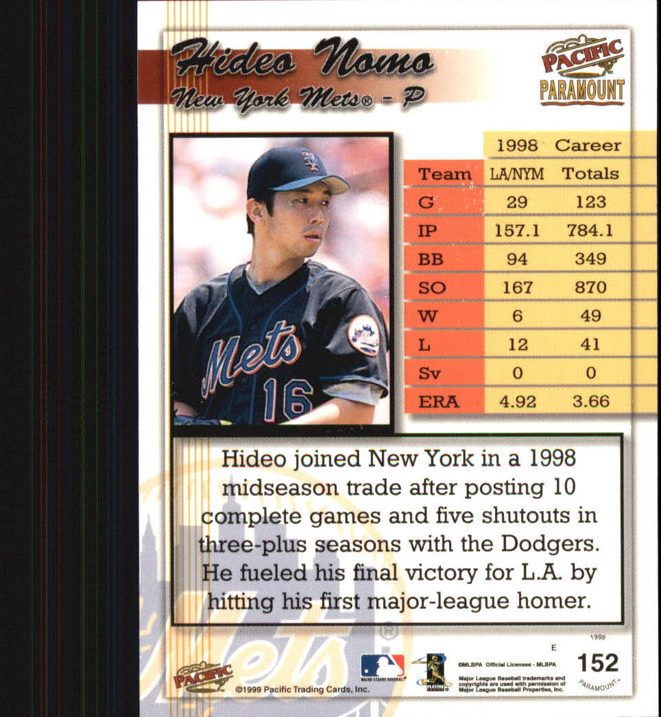 1999 Paramount #152 Hideo Nomo back image